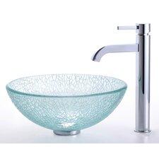 """Broken Glass 14"""" Vessel Sink and Ramus Faucet"""