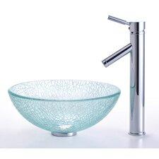 "Broken Glass 14"" Vessel Sink and Sheven Faucet"