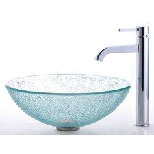 Broken Glass Vessel Sink and Ramus Faucet