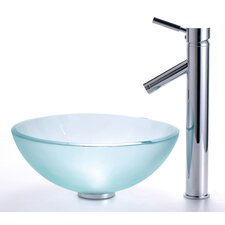"Frosted 14"" Glass Vessel Sink and Sheven Faucet"