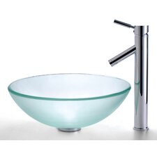 Frosted Glass Vessel Sink and Sheven Faucet