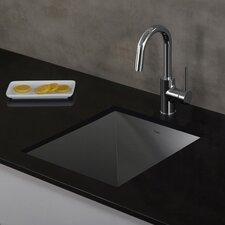 "Pax™ Zero-Radius 14.5"" x 18.5"" 18 Gauge Handmade Undermount Single Bowl Stainless Steel Bar Sink"
