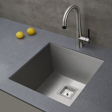 "Pax™ Zero-Radius 18.5"" x 18.5"" 18 Gauge Handmade Undermount Single Bowl Stainless Steel Bar Sink"