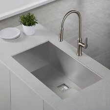 "Pax™ Zero-Radius 31.5"" x 18.5"" 16 Gauge Handmade Undermount Single Bowl Stainless Steel Kitchen Sink"