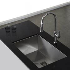 "Pax™ 28.5"" x 18.5"" Zero Radius 16 Gauge Handmade Undermount Single Bowl Stainless Steel Kitchen Sink"