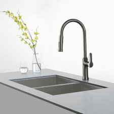 "Pax™ Zero-Radius 31.5"" x 18.5"" 16 Gauge Handmade Undermount 50/50 Double Bowl Stainless Steel Kitchen Sink"