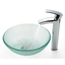 "Frosted 14"" Vessel Sink and Visio Bathroom Faucet"