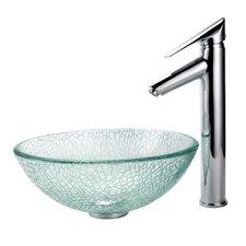 "Broken Glass 14"" Vessel Sink and Decus Bathroom Faucet in Chrome"