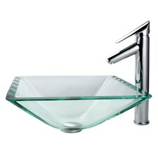 Aquamarine Glass Vessel Sink and Decus Bathroom Faucet in Chrome