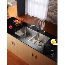 "33"" Undermount 60/40 Double Bowl 16 Gauge Stainless Steel Kitchen Sink"