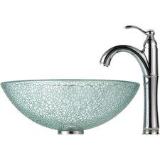 Broken Glass Vessel Bathroom Sink with Faucet