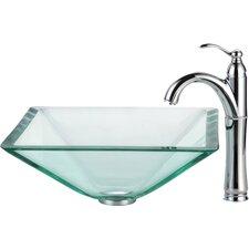 Square Aquamarine Glass Vessel Bathroom Sink with Rivera Faucet