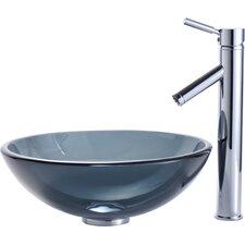 Clear Black Glass Vessel Bathroom Sink & Sheven Faucet