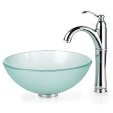 "Frosted 0.5"" Glass Vessel Sink and Riviera Faucet"