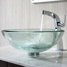 Clear 19Mm Thick Glass Vessel Sink and Single Hole Faucet with Single Handle