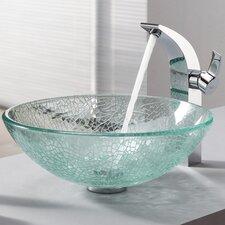 Bathroom Combos Broken Glass Vessel Bathroom Sink with Single Handle Single Hole Faucet