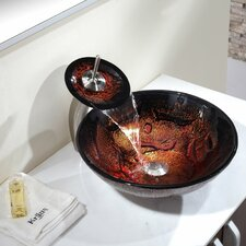Lava Glass Vessel Sink  with Pop Up Drain and Mounting Ring