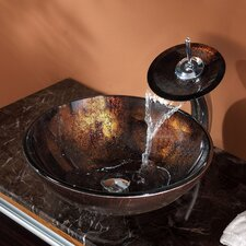 Pluto Vessel Bathroom Sink with Waterfall Faucet