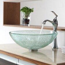Broken Glass Vessel Bathroom Sink with Single Handle Single Hole Faucet