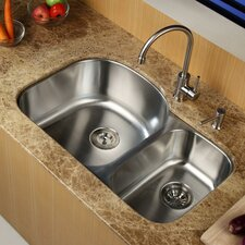 """31.5"""" x 20.5"""" Undermount Double Bowl Kitchen Sink with Faucet and Soap Dispenser"""