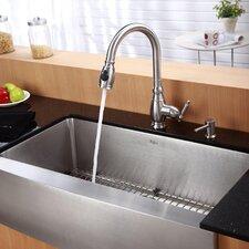 "36"" x 20.75"" x 10"" 6 Piece Farmhouse Kitchen Sink Set"