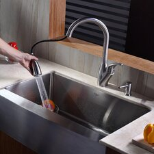 """32.9"""" x 20.75"""" Farmhouse Kitchen Sink with Faucet and Soap Dispenser"""
