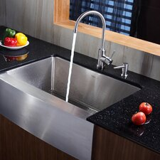 """29.75"""" x 20.75"""" Farmhouse Kitchen Sink with Faucet and Soap Dispenser"""