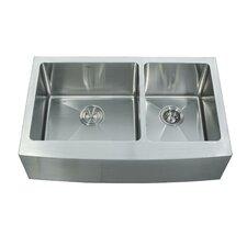 """32.88"""" x 20.75"""" Double Bowl Farmhouse Kitchen Sink with Faucet & Soap Dispenser"""