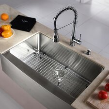 """Kitchen Combo 33"""" x 20"""" Single Bowl Farmhouse Stainless Steel Kitchen Sink with Faucet"""