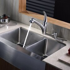 """32.88"""" x 20.75"""" Farmhouse Double Bowl Kitchen Sink with Faucet and Soap Dispenser"""