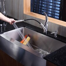 """35.875"""" x 20.75"""" Farmhouse Kitchen Sink with Faucet and Soap Dispenser"""