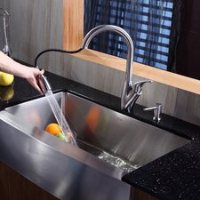 """35.9"""" x 20.75"""" x 10"""" Farmhouse Kitchen Sink with Faucet and Soap Dispenser"""