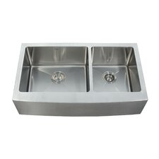 """35.875"""" x 20.75"""" Farmhouse Double Bowl Kitchen Sink with Faucet and Soap Dispenser"""