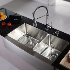 """Kitchen Combo 36"""" x 25.5"""" Double Bowl Stainless Steel Kitchen Sink with Faucet"""