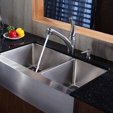 """35.88"""" x 20.75"""" Farmhouse Double Bowl Kitchen Sink with Faucet and Soap Dispenser"""
