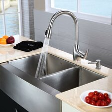 """32.9"""" x 20.75"""" x 10"""" Farmhouse Double Bowl Kitchen Sink with Faucet and Soap Dispenser"""