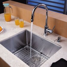 """23"""" x 18"""" Undermount Single Bowl Kitchen Sink with 10"""" Faucet and Soap Dispenser"""