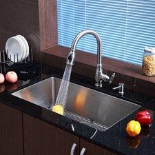 """32"""" x 19"""" 6 Piece Undermount Single Bowl Kitchen Sink Set"""