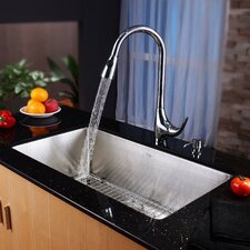 "32"" x 19"" Undermount Single Bowl Kitchen Sink with Faucet"
