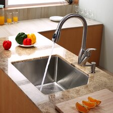 """23"""" x 18.75"""" Undermount Kitchen Sink with Kitchen Faucet and Soap Dispenser"""