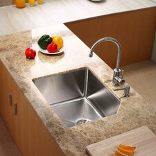 """23"""" x 18.75"""" x 10"""" Undermount Kitchen Sink with Kitchen Faucet and Soap Dispenser"""