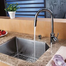 """21"""" x 16.75"""" Undermount Single Bowl Kitchen Sink with 15"""" x 7"""" Faucet and Soap Dispenser"""