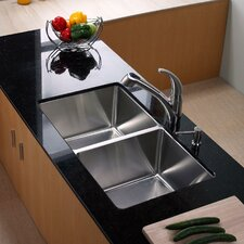 """32.75"""" x 19"""" Undermount Double Bowl 50/50 Kitchen Sink with Faucet"""
