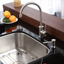"""Stainless Steel 23"""" x 17.6"""" Undermount Single Bowl Kitchen Sink with 14.3"""" Kitchen Faucet and Soap Dispenser"""
