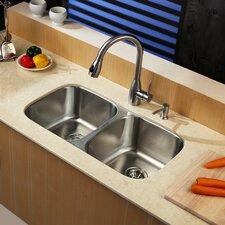 """32.25"""" x 18.5""""  8 Piece Undermount Double Bowl Kitchen Sink Set"""