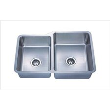 "Almost Zero Undermount 9"" x 32"" Offset  Double Bowl Kitchen Sink"