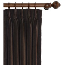 Jackson Solid Velvet Cotton Pleat Single Curtain Panel