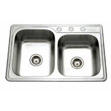 """Glowtone 33"""" x 22"""" Topmount 60/40 Double Bowl Kitchen Sink"""