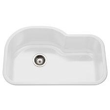 """Porcela 31.26"""" x 20.67"""" Porcelain Enameled Steel Offset Undermount Single Bowl Kitchen Sink"""