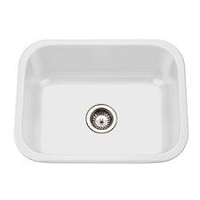 "Porcela 22.76"" x 17.4"" Porcelain Enameled Steel Undermount Single Bowl Kitchen Sink"
